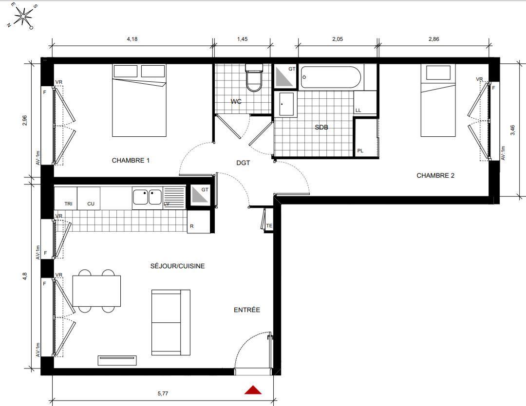 vente Appartement 3 pièces Gennevilliers 92230
